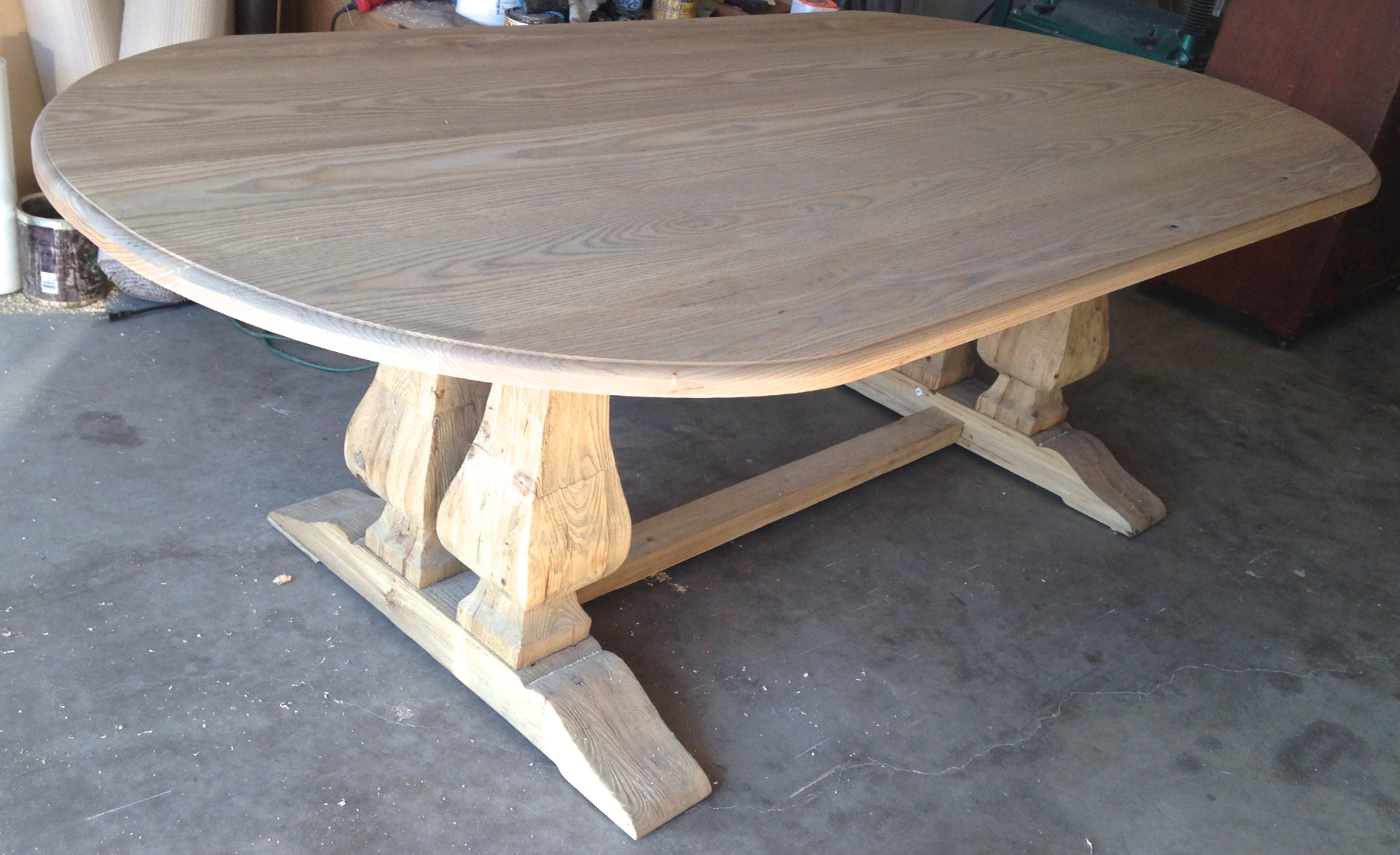 Custom built dining table before finish is applied